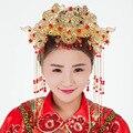 Joyería del pelo de la corona traje cheongsam Chino retro cabeza peine flujo pelo decorado retro Corona