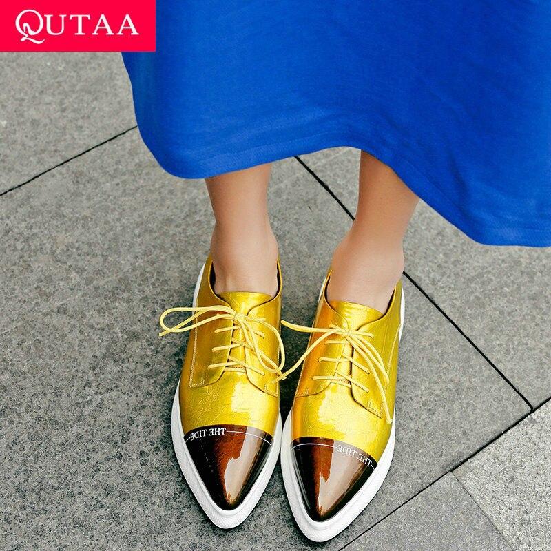 Chaussures Hauts Talons Décontracté jaune Noir Chiots Bout Tous 2019 argent automne Dames Printemps Femmes Qutaa 34 Pompes 42 Pointu Lacé Nouveau Match Pour AYxq5ZfC
