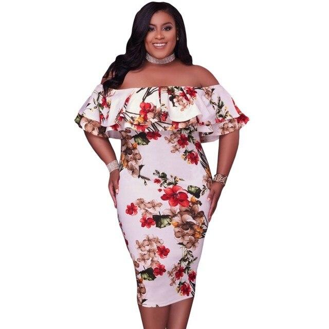 fb5cd6d3317f7 Zmvkgsoa الصيف أزياء فساتين مقاسات كبيرة للنساء الملابس 2018 كشكش قبالة  الكتف مثير زائد حجم اللباس