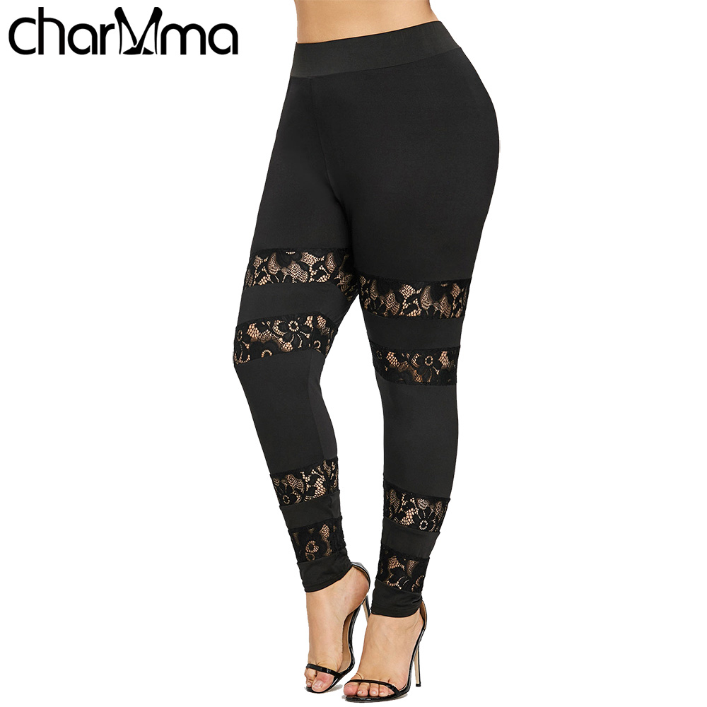 Plus Size   Leggings   Women Sexy Fitness   Leggings   Sheer Lace Insert Big Size 5XL 2018 Summer Women Workout   Leggings   Push Up   Legging