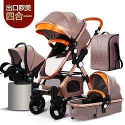 Carrinho de bebê 4 em 1 com assento de carro para recém-nascido alta vista carrinho de bebê dobrável sistema viagem carrinho de bebê 3 em 1