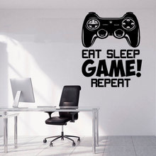 Eat Sleep Game Repeat Wall Sticker Quote Vinyl Home Decor Teens Room Playroom Decals Removable Controller Wallpaper A165