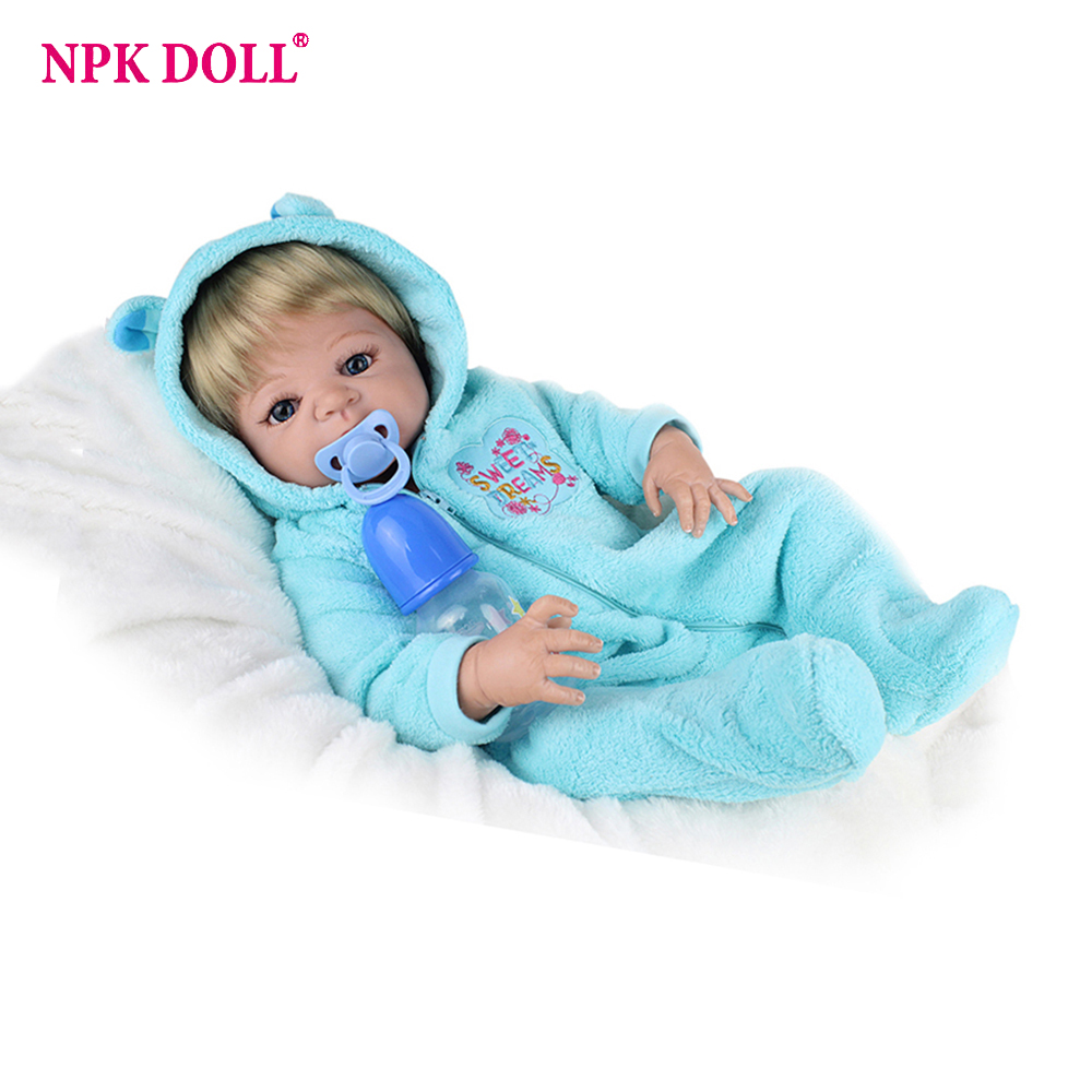 NPKDOLL 22inches Reborn Baby Doll Bebe Reborn Full Body Silicone American Boy Dolls Children Toys Gift mother to be gift silicone reborn toddlers 22inches solid realistic full body cosplay reborn dolls wholesale