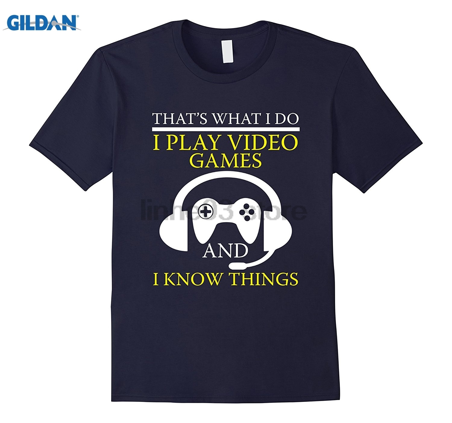 GILDAN FUNNY PLAY VIDEO GAMES AND I KNOW THINGS T-SHIRT Geek Gift Hot Womens T-shirt