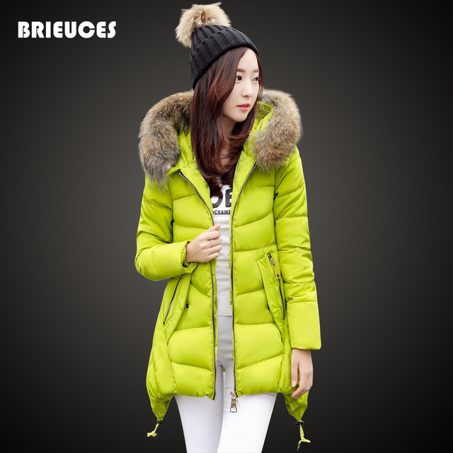 winter jacket women cotton-padded jacket solid color plus size cotton down large fur collar hooded red winter coat women parkas