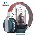 BT-008 Bluetooth Auriculares Bluetooth Headset Con Stent de Cuero + HD Mic Estéreo Fuerte Bass + Wired Wireless Doble Modo de 4 colores