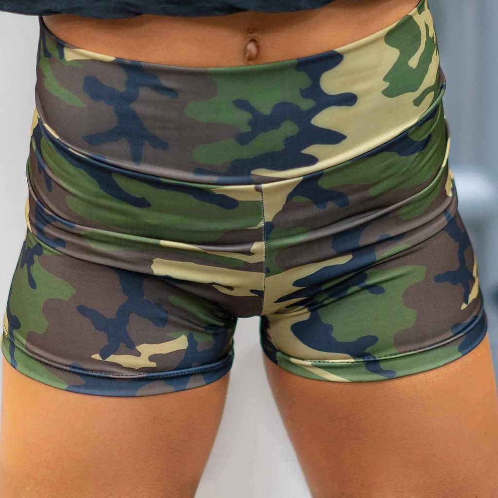 Pantalones Cortos Mujer Deporte deportivos 2019 ShortWomen imprimir transpirable delgado de la cadera-ajuste Fitness Running Yoga Pantalones Cortos