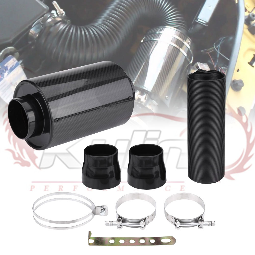 KYLIN STORE - Universal Racing Air Filter Box Carbon Fiber Cold Feed Induction Kit Air Intake Kit Without Fan IP009