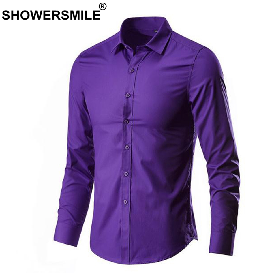 Showersmile Men Shirt In Green Cheap Cotton Shirts Long Sleeve Slim Fit Business Male Fashion Shirt Solid Spring Autumn Clothing