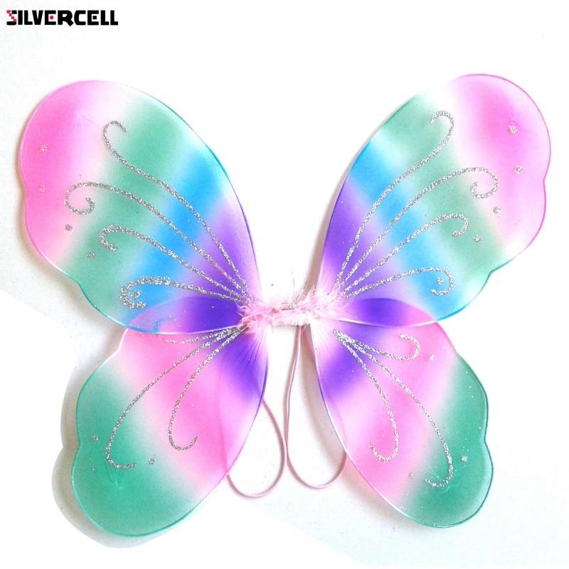 Angel Fairy Butterfly Wings Kids Girls Halloween Fancy Dress Party Clothes U58 tinker bell fairy kids girl halloween party costume dress wings set 2 8year c247
