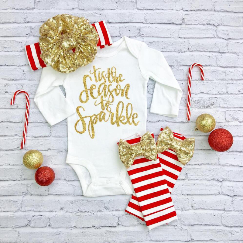 Christmas Newborn Infant Baby Girls Clothes Letter Short Sleeve Romper Striped Legging Warmer Headwear 3PCS Outfit Clothing 3pcs newborn kids baby boy girls christmas infant striped sequin jumpsuit bodysuit leg warmer headband clothes outfit 0 18m