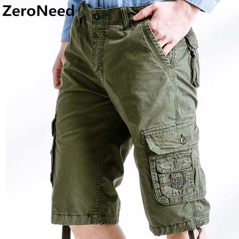 4fcf86f03 Pantalones cortos Cargo verano Casual trabajo al aire libre Multi-Bolsillo  marca ropa Bermuda ...
