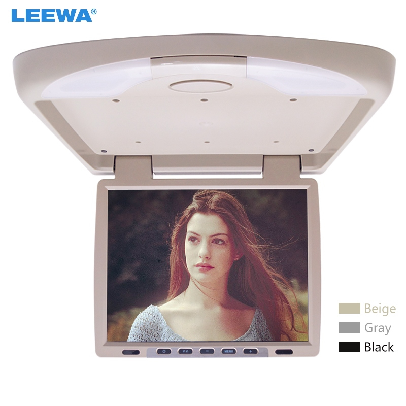 LEEWA 12V 14.1 Inch Car/Bus TFT LCD Roof Mounted Monitor Flip Down Monitor 2-Way Video Input 3-Color Black, Grey, Beige #CA1290 9 inch flip down tft lcd monitor 12v car monitor beige car roof mounted monitor car ceiling monitor with 2 video input
