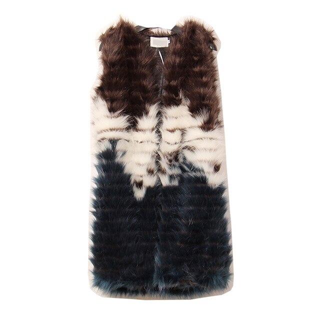 [CHICEVER] 2017 Winter Artificial Fur Imitation Plush Hit Color Long Vest Down Coat Women Cardigan Jacket New