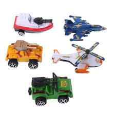 5Pcs Simulation Off-road Car Helicopter Yacht Model Pull Back Toy Plastic 3D Military Diecasts Toy Vehicles Kids Christmas Gifts(China)