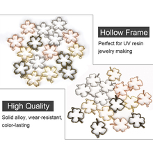 5pcs Leaves Cherry Blossom Flower Four-Leaf Clover Resin Open Blank Frame Bezel Pendant For Necklace Earring Jewelry Accessories