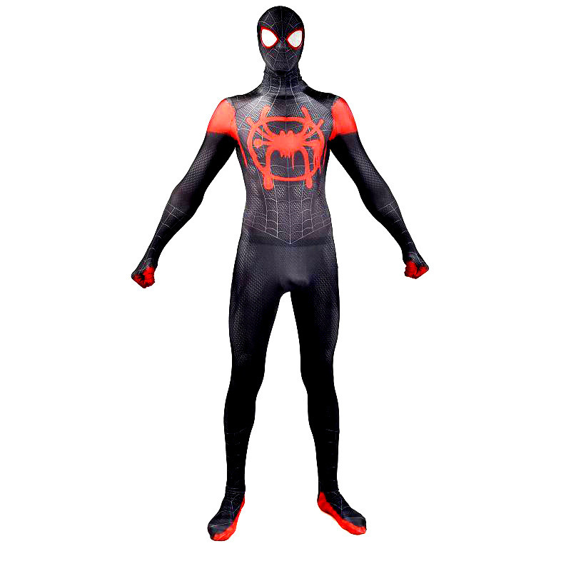 2XL Spider Man Into the Spider-Verse Miles Morales Cosplay Costume Superhero Zentai Adults Kids Men Boy Spiderman Suit Bodysuit