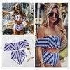 2018 Sexy Bikini Set High Waist Swimwear Women Striped Biquini Ruffled Swim Bathing Suit White Blue