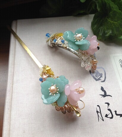 цена на Amazonite Earpick Also Hair Stick Xie Yi Classical Hair Jewelry Hanfu Costume Accessory Jewelry (Earpick + Pinchcock)