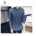 XXXXXL 2017 Autumn Men Solid Dress Shirts Cotton Camisas Pocket Camisetas Vestidos Men Clothes Casual in Men's Tuxedo Shirts