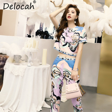 Delocah Women Spring Summer Suits Runway Fashion Short Sleeve Geometric Print Tops anb Elegant Vintage Long Pants Two Pieces Set delocah women spring summer suits runway fashion designer beading sequined shirt elegant vintage slit long pants two pieces set