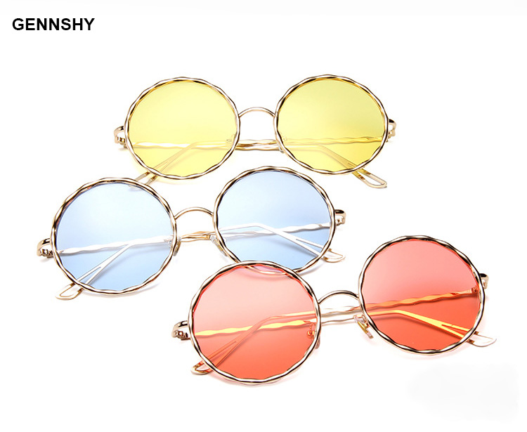2017 Small Round Sunglasses Women Men Retro Fashion Brand Designer Sun Glasses Lady Metal Gold Frame Blue Ocean Lenses Uv400