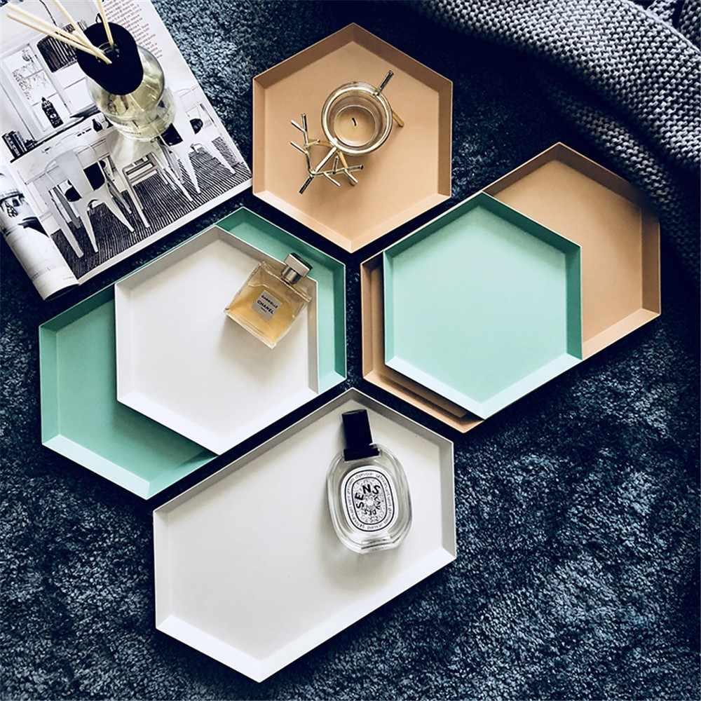Placa de exibição de jóias polígono combinação desktop bandeja armazenamento nordic geométrico diamante metal hexagonal bolo prato frutas