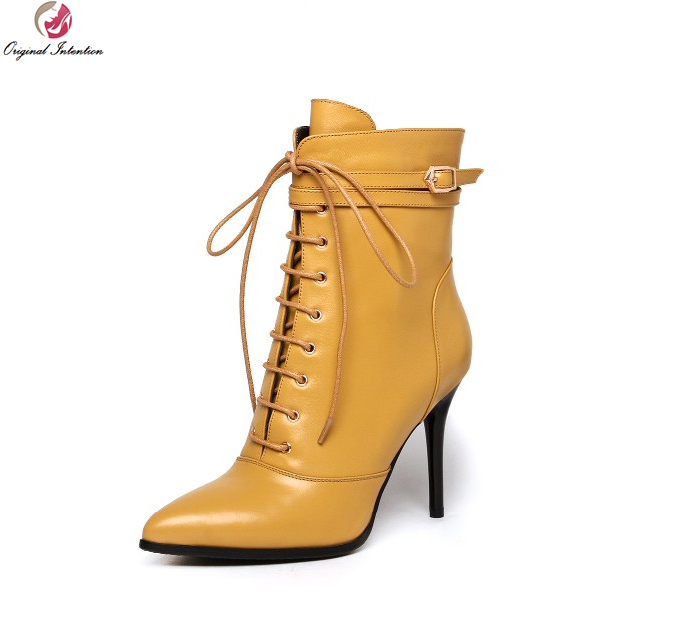 Original Intention New Fashion Women Ankle Boots Fashion Pointed Toe Thin Heels Nice Black Yellow Shoes Woman US Size 4-10.5 hot sale new arrival black red sheepskin zip sweet women boots round toe thin heels ankle shoes woman m 42