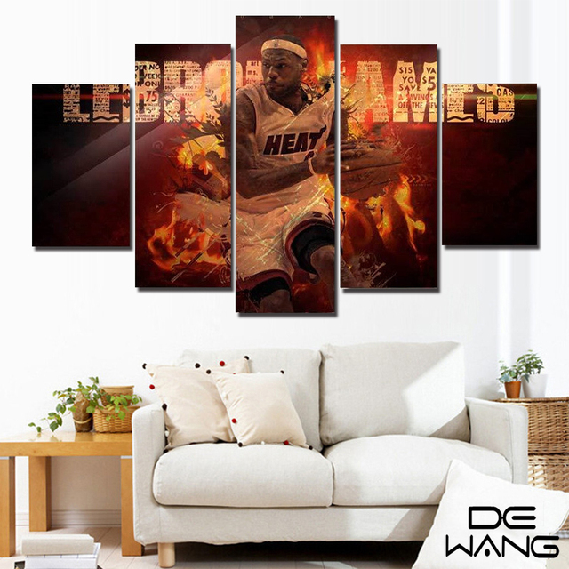 Framed Art 5 piece Print Canvas Oil Painting Art Picture Nba Miami ...
