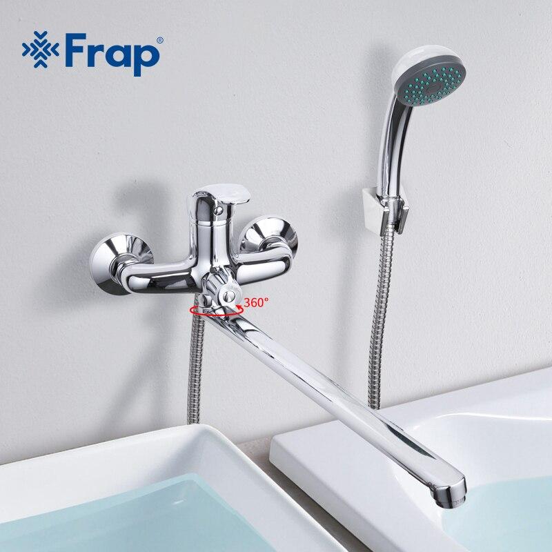Frap 1 компл. Ванная комната кран холодной и горячей воды смеситель хром закончил коснитесь 40 см вращения длинный нос одной ручкой f2236