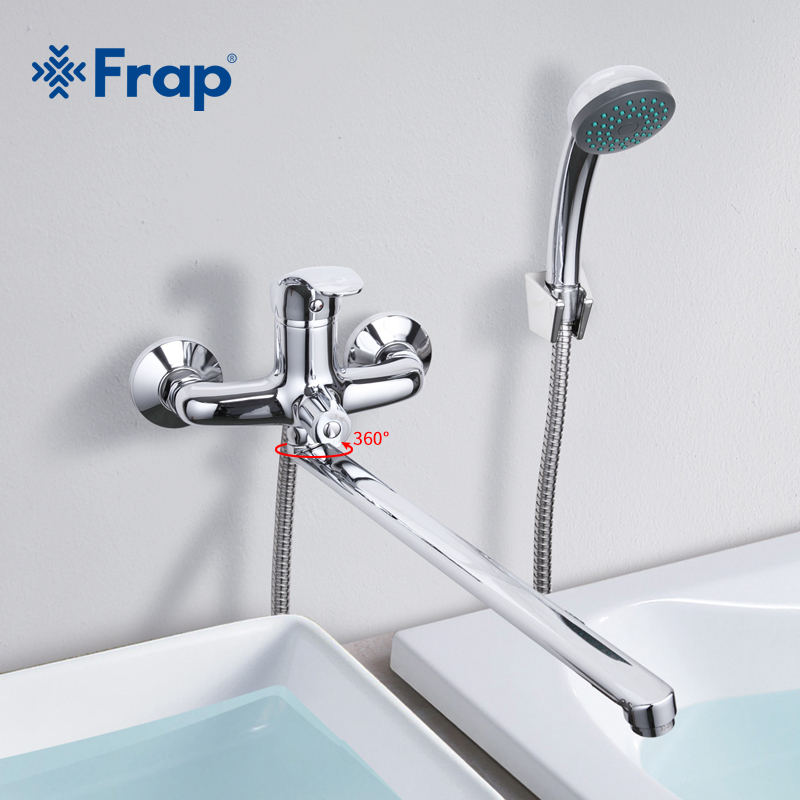 Frap 1 Set Bathroom Faucet Cold and Hot Water Mixer Chrome Finished Tap 40cm Rotation Long Nose Single Handle F2236Frap 1 Set Bathroom Faucet Cold and Hot Water Mixer Chrome Finished Tap 40cm Rotation Long Nose Single Handle F2236