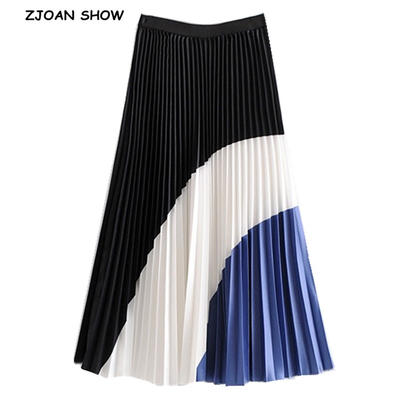 2019 Women Color Block Patchwork Midi Skirt England Style High Waist A-Line Midi Pleated Skirt Lady Elegant Streetwear