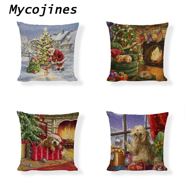 Christmas Pillow Covers Decorate Ball Dog Cat 45*45CM Stars Sparrow Snowflake Throw Pillowcase Home Sofa Living Room Decoration