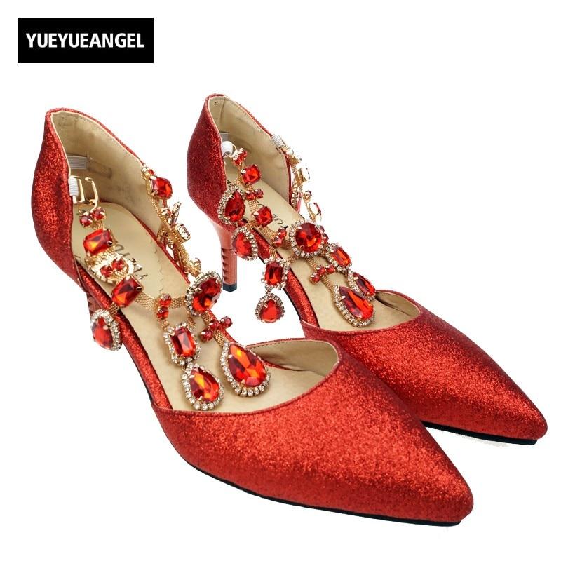 Plus Size 34-43 Fashion Womens Wedding Luxury Rhinestone Glitter Sequins Pointed Toe Pumps Dress Shoes Red Gold Silver Free glitter pu rhinestone slip on pointed toe womens flats