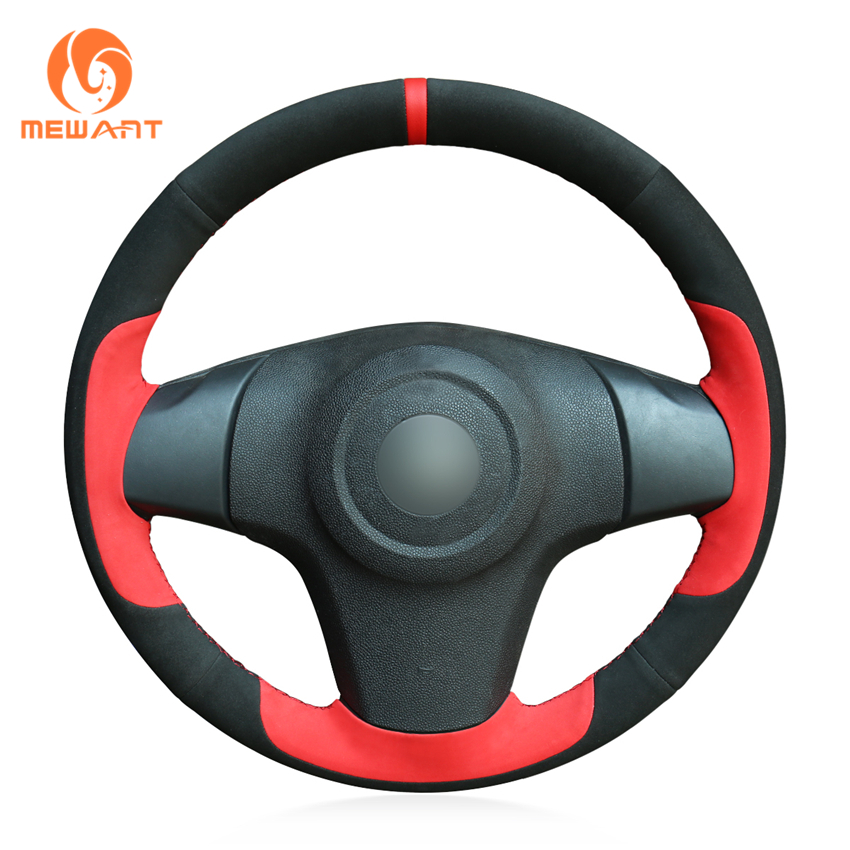 MEWANT Black Suede Genuine Leather Car Steering Wheel Cover for Chevrolet Niva 2009-2017 (3-Spoke) mewant black suede genuine leather car steering wheel cover for chevrolet niva 2009 2017 3 spoke