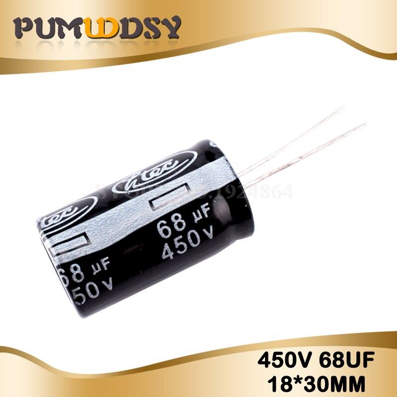 5PCS Higt Quality 450V68UF 18*25mm 68UF 450V 18*25 Lectrolytic Capacitor