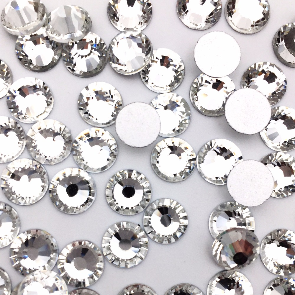 Newest SS3 & SS34 crystal white Strass Stones Nail Art Glitter Flatback Rhinestone non Hotfix For Clothes accessaries Decoration