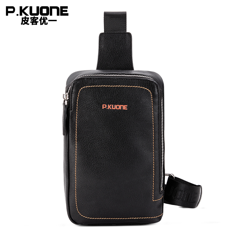 P.KUONE Brand 2017  Luxury Design  Leather Chest Pack Bag Men Single Shoulder Bags College shool Cross body Chest Bag Male men s bags chest pack casual single shoulder back strap male bag split leather high capacity chest bag crossbody leather