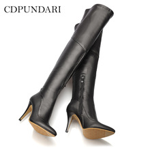 Shoes Woman Long-Boots Over-The-Knee High-Heels Black Ladies Winter Sexy Autumn Red