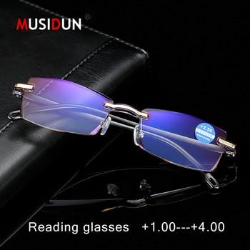 d00bd246e2 Moda sin montura gafas de lectura hombre de negocios clásico Retro presbicia  anteojos magnética + 1,0 + 1,5 + 2,0 + 2,5 + 3,0 + 3,5 + 4,0 s802