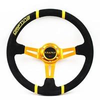 Universal 14inch 350mm MOMO Steering Wheel Deep Corn Drifting Suede Leather Racing Steering Wheels Gold Frame