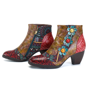 Image 4 - Socofy Vintage Bohemian Printed Winter Boots Women Shoes Woman Genuine Leather Splicing Handmade Flower Women Ankle Boots Botas