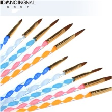 5Pcs Nail Art Brush Tools Set Acrylic UV Gel Builder Painting Drawing Brushes Pens Cuticle Pusher Tool Colorful