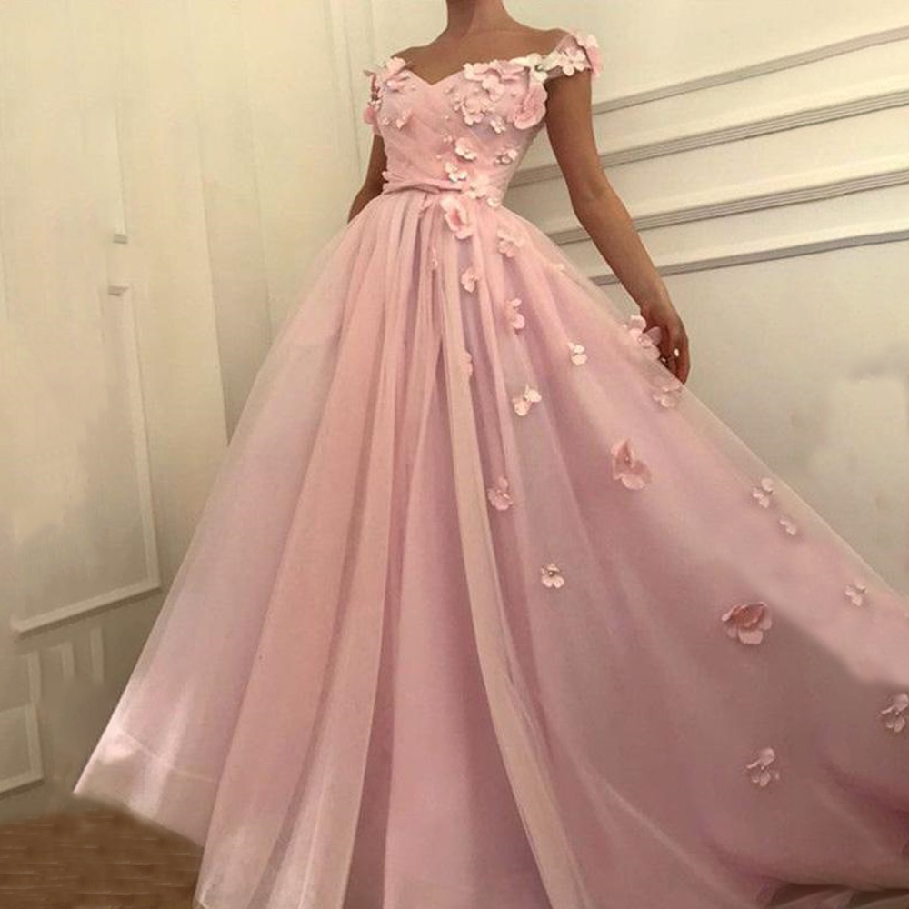 V Neck Floor Length   Prom     Dresses   A Line Off Shoulder Open Back Evening Formal Party   Dress   with Sash Flowers Vestido De Fiesta