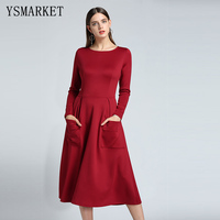 YSMARKET Women Fashion Skater Dress Bateau Collar O Neck Casual Big Pockets Long Sleeves Fit and Flare Midi Dress EAM108