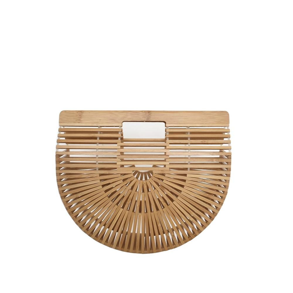 Bamboo Bags for Women 2019 Beach Handbags Semicircle Moon For Kids And Ladies Totes Summer Woman's Bag