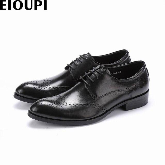 EIOUPI novo design top grain completa couro real dos homens de negócios formal homens vestido sapato brogue sapatos de Asa-Dicas e870-102