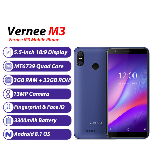 Vernee M3 3GB RAM 32GB ROM Mobile Phone 5.5 Inch Face ID Android 8.1 Quad Core MTK6739 13MP 3300mAh 4G LTE Unlocked Smartphone