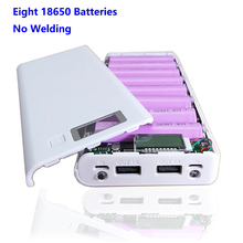 Hot sale 5V Dual USB 8*18650 Power Bank Battery Box Mobile Phone Charger DIY Shell Case For iphone6 Plus S6 xiaomi 2 Flashlights universal usb power bank case kit diy 1x 18650 battery charger box diy for samsung xiaomi mobile phone whole sale