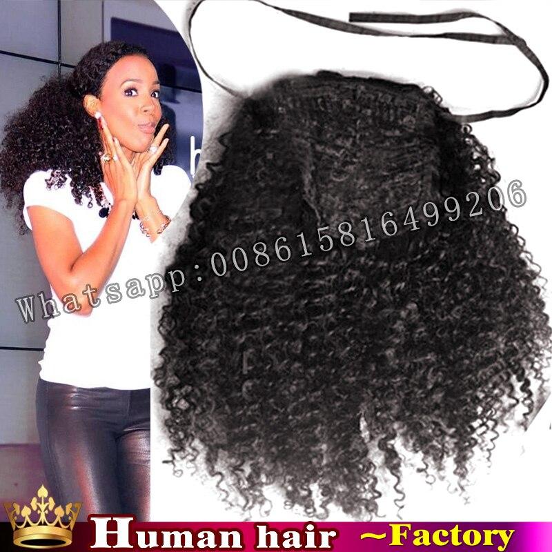 120g 100 Human Real Hair Drawstring Ponytail Kinky Curly